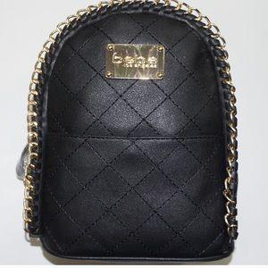 Bebe Black quilted julia mini backpack